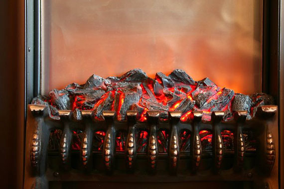 electric fireplace grate with simulated glowing coals