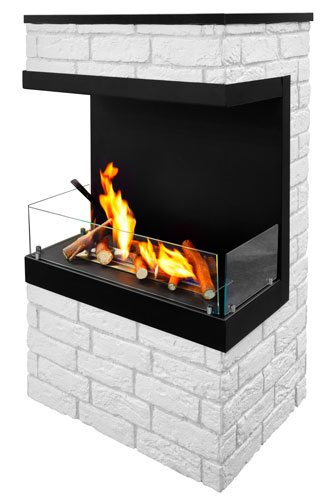 designer electric fireplace surrounded by white bricks
